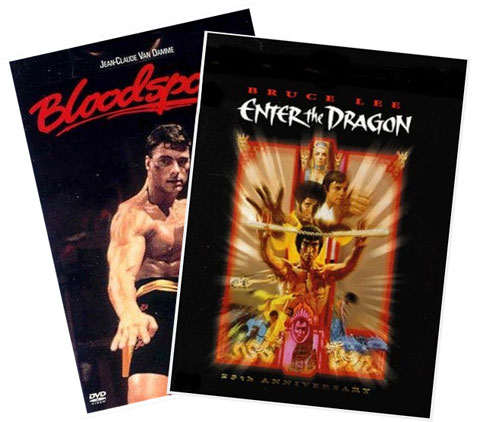 van damme and bruce lee, bloodsport and enter the dragon